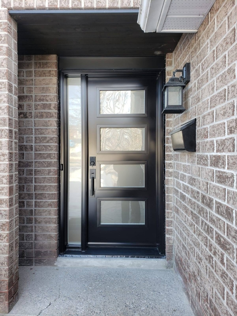 Modern black door with all glass sidelite frosted glass installed in Keswick by Simon and Sons in Newmarket