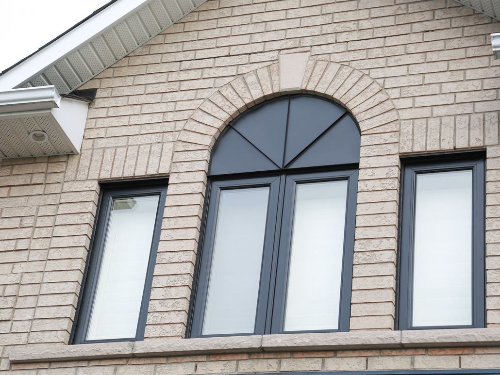 New energy efficient black windows installed at front of house in Newmarket