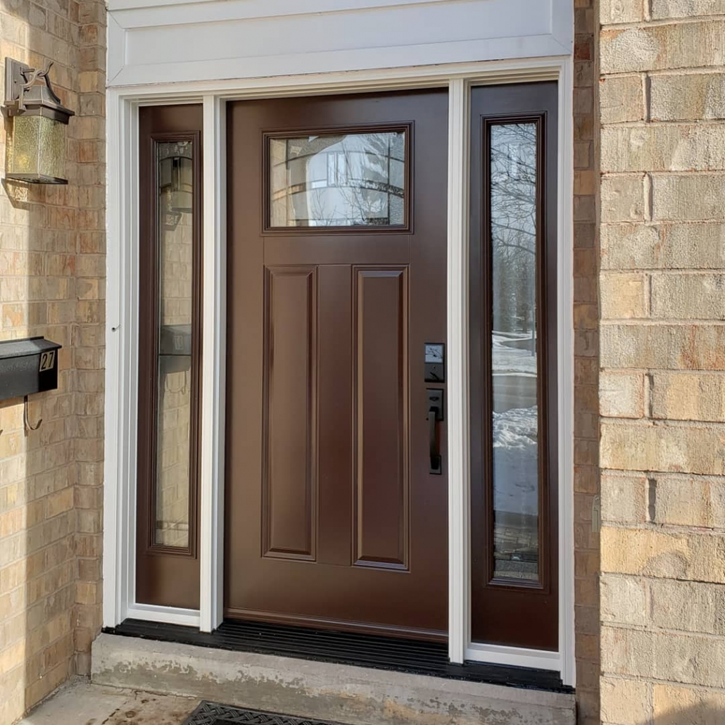 Door system with white frame and painted brown door and sidelites installed in Georgina by Simon and Sons Windows & Doors