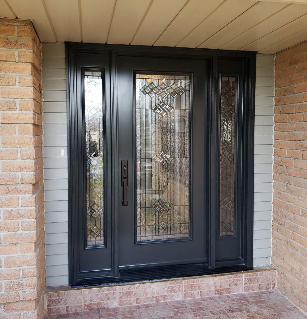 Steel door and sidelites with full length glass installed by family owned company in Newmarket