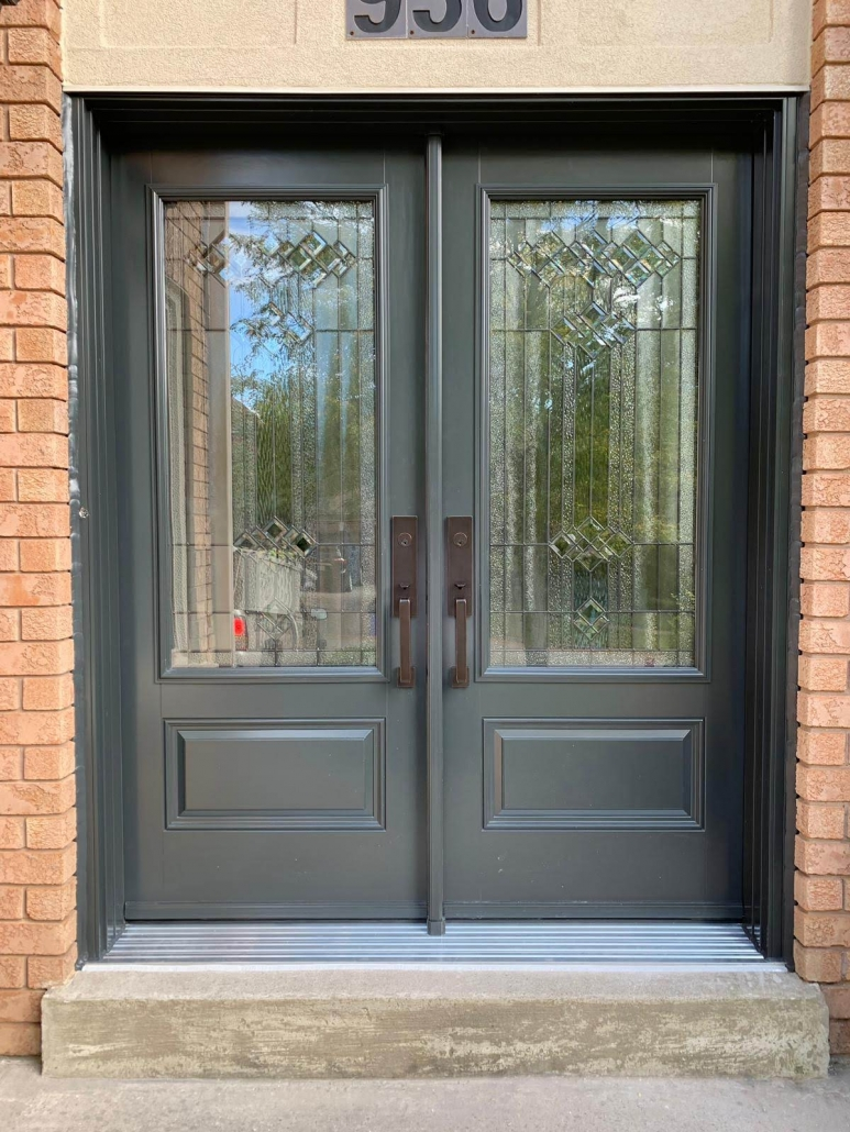 Steel double doors with decorative glass and Emtek hardware install in Stonehaven area of Newmarket