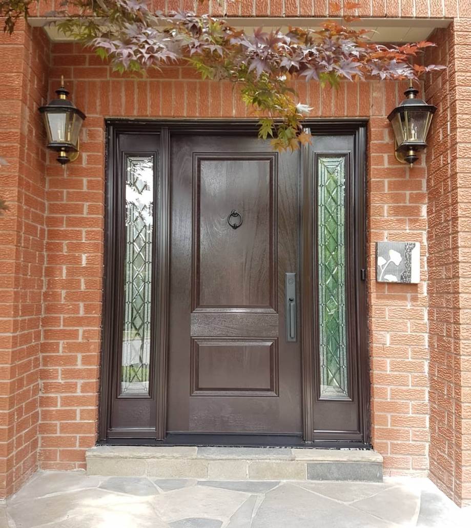 Mahogany front door and 2 sidelites in Newmarket with woodgrain painted espresso