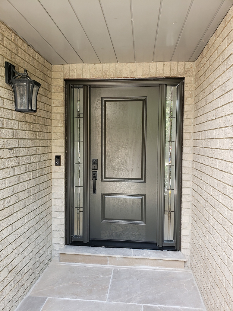 Fiberglass Mahogany door with all glass sidelites installed by high quality installers in Newmarket