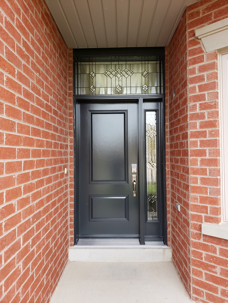 Ballantrae front door with decorative glass in sidelite and transom